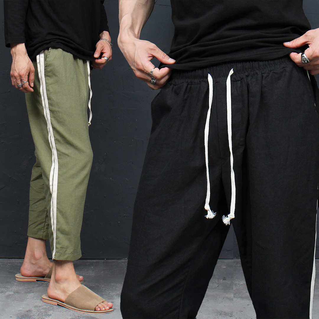 Side Line Drop Crotch 4/5 Baggy Color Sweatpants 097