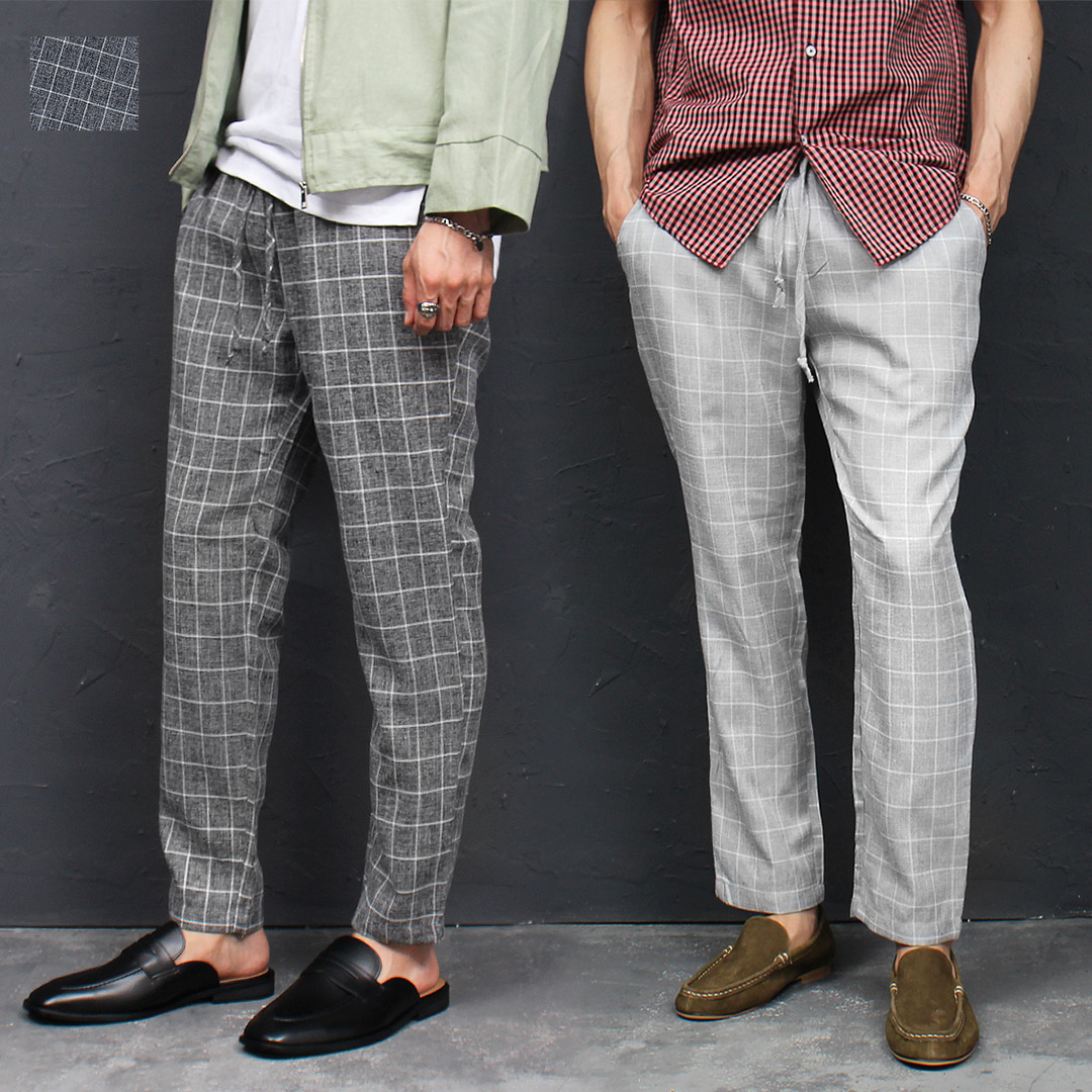 Square Check Elastic Waistband Linen Pants 038