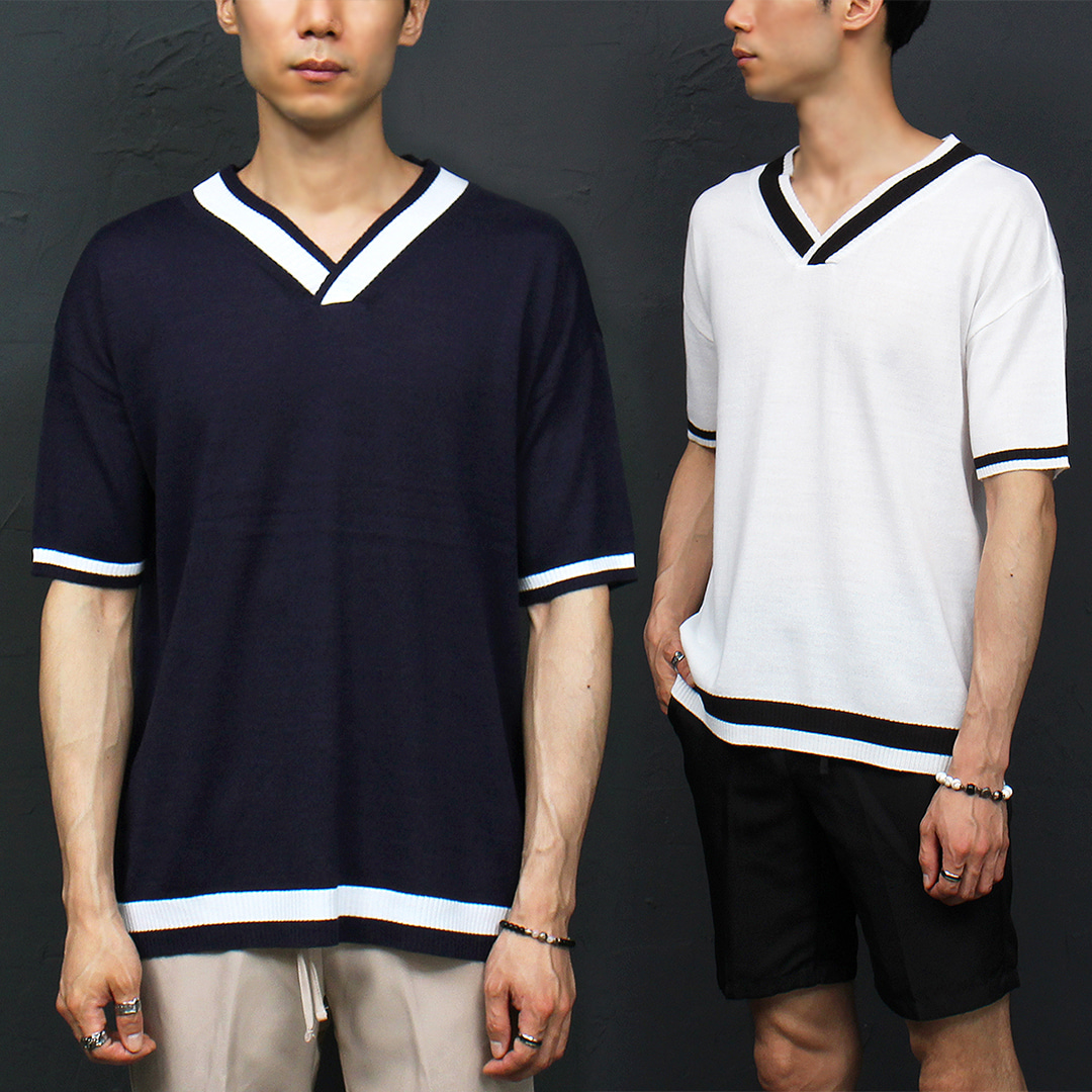 Loose Fit V Neck Contrast Line Knit Half Sleeve Tee 009