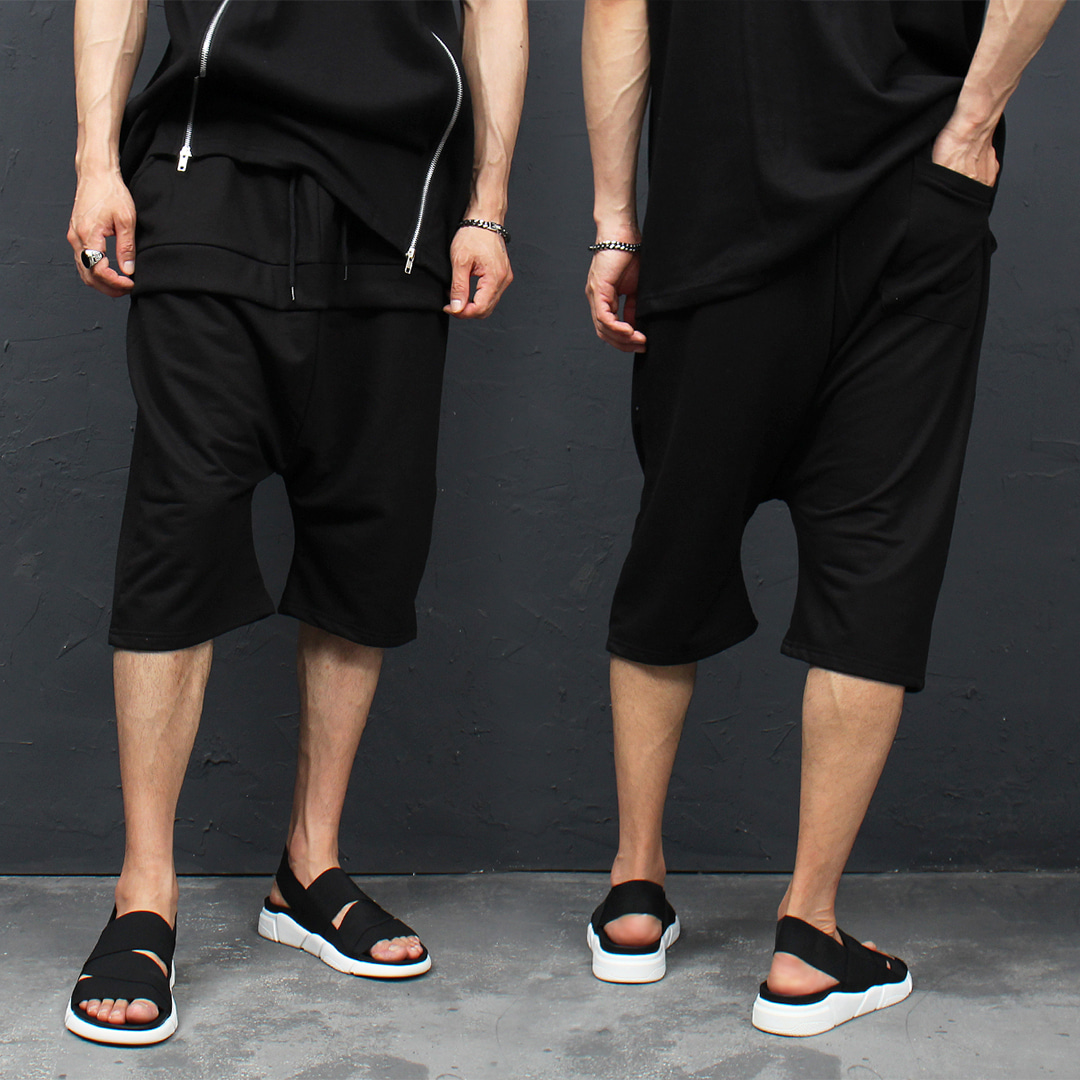 Double Layered Styling 3/4 Low Crotch Baggy Sweatpants 063