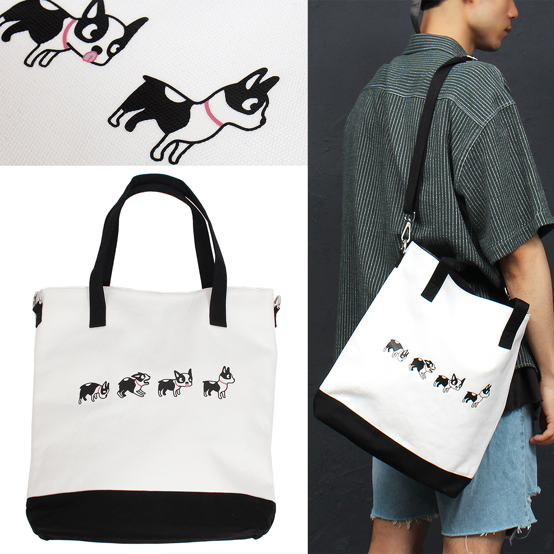 Canvas Dog Printing Pocket Shoulder Tote Bag 011