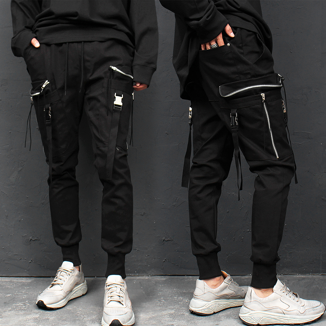 Techwear Buckle Strap Zipper Cargo Pocket Jogger Pants 015