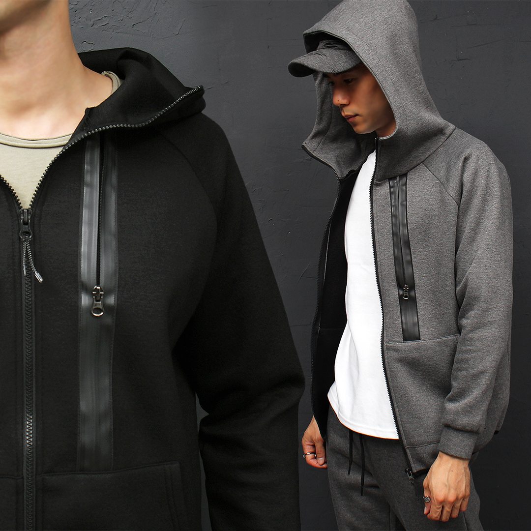 Neoprene Long Zipper High Neck Zip Up Hoodie 031