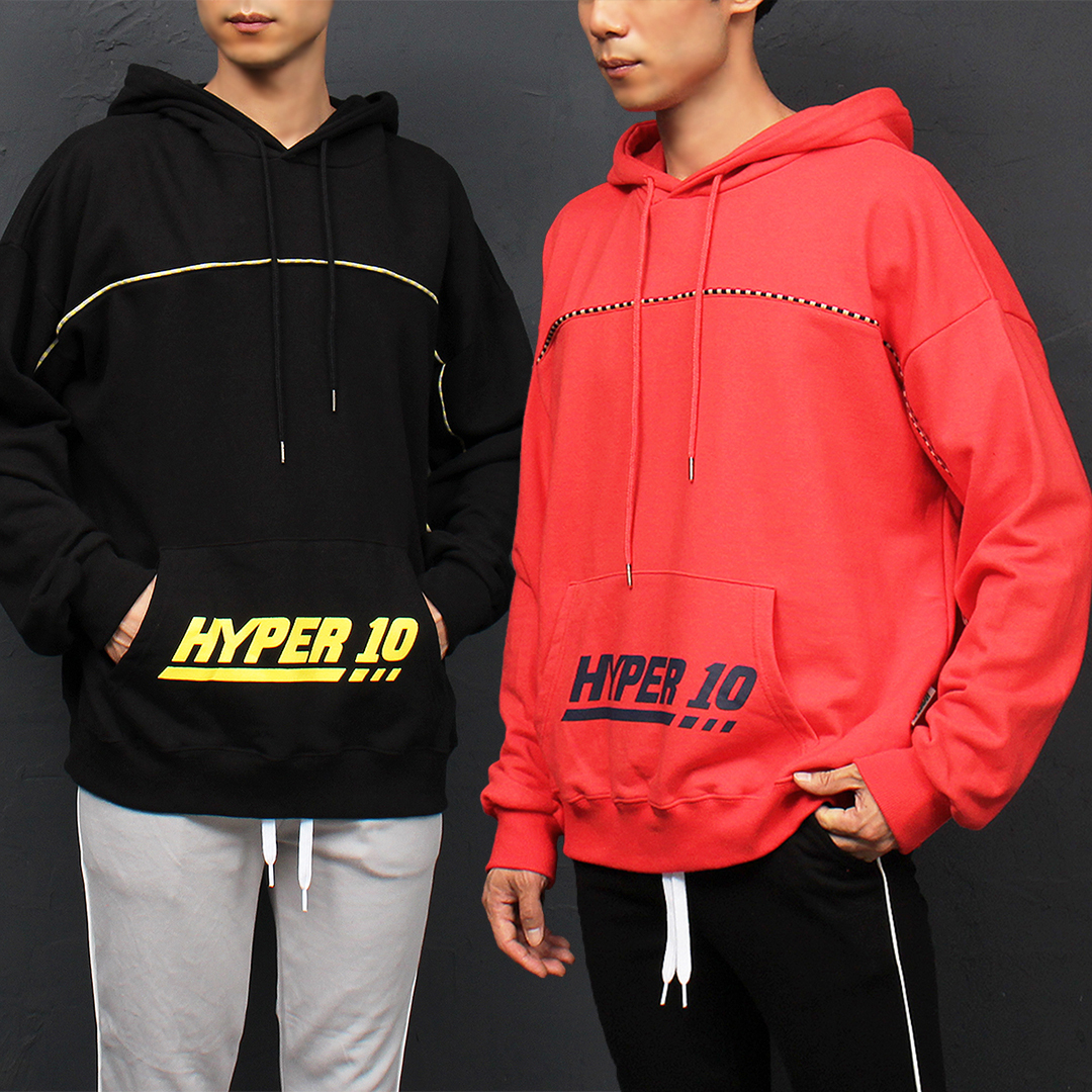 Hyper 10 Checkered Line Gym Wear Pocket Hoodie 029
