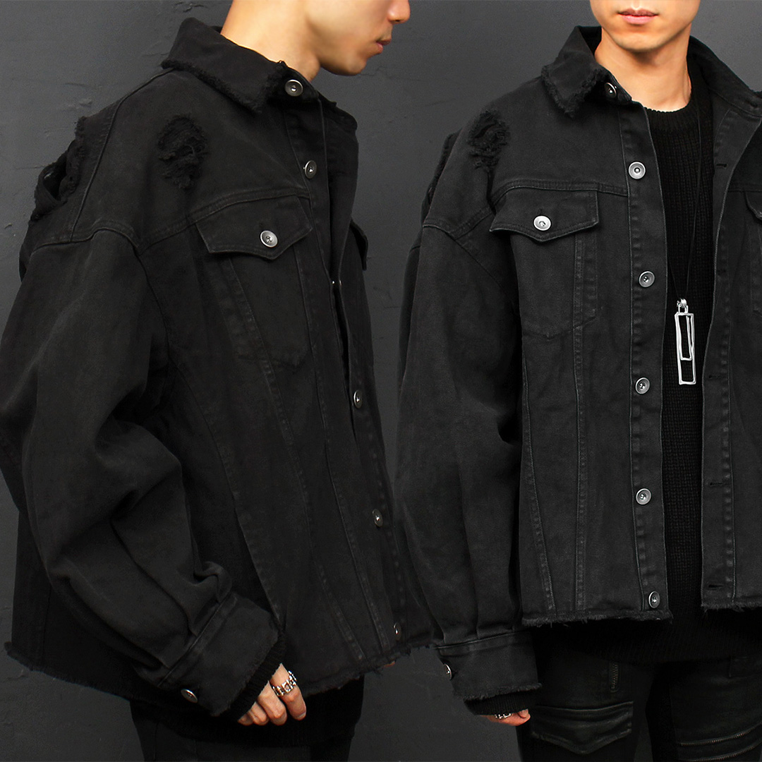 Loose Fit Damaged Distressed Black Denim Jacket 032