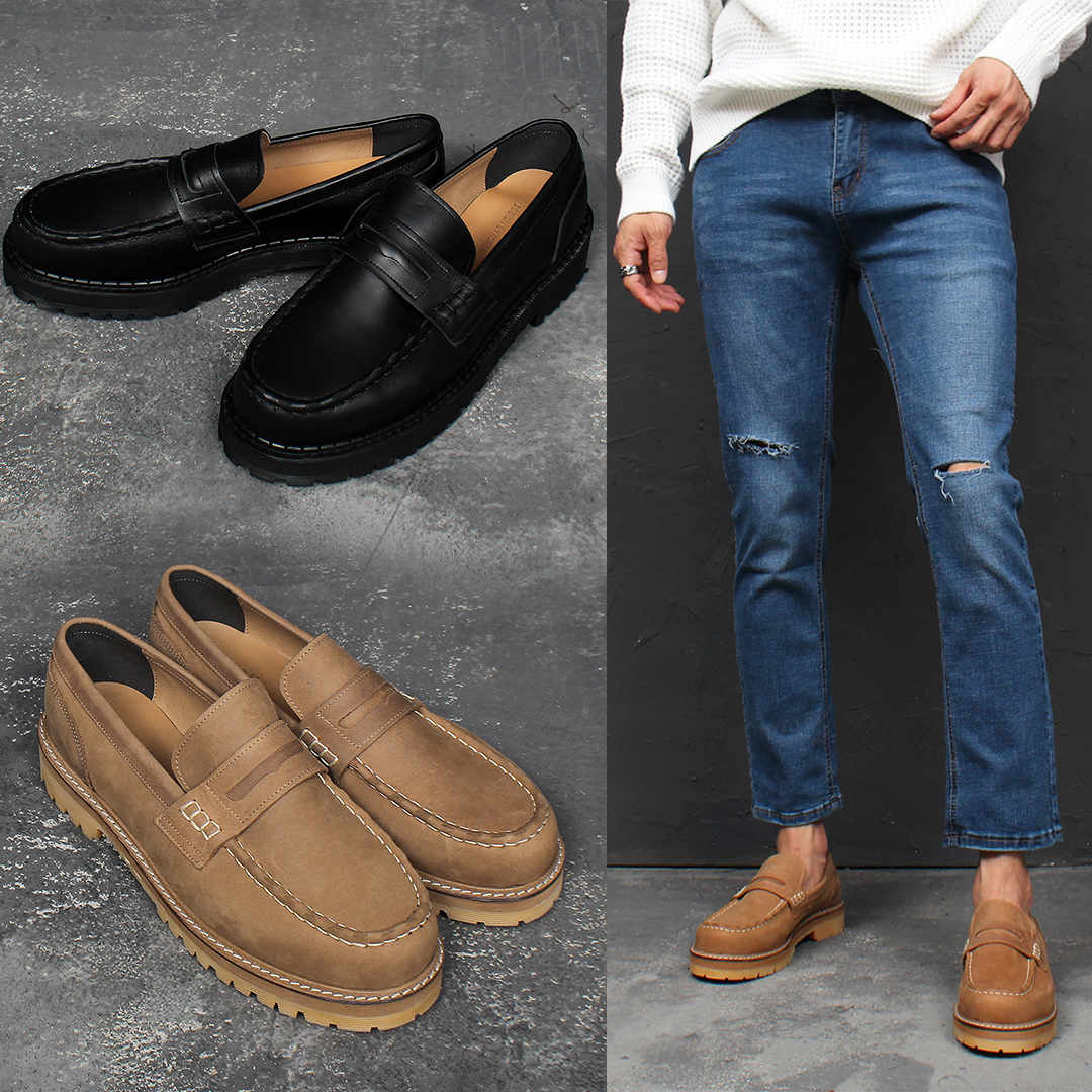 Handmade Cowhide Leather Moc Toe Penny Loafers 004