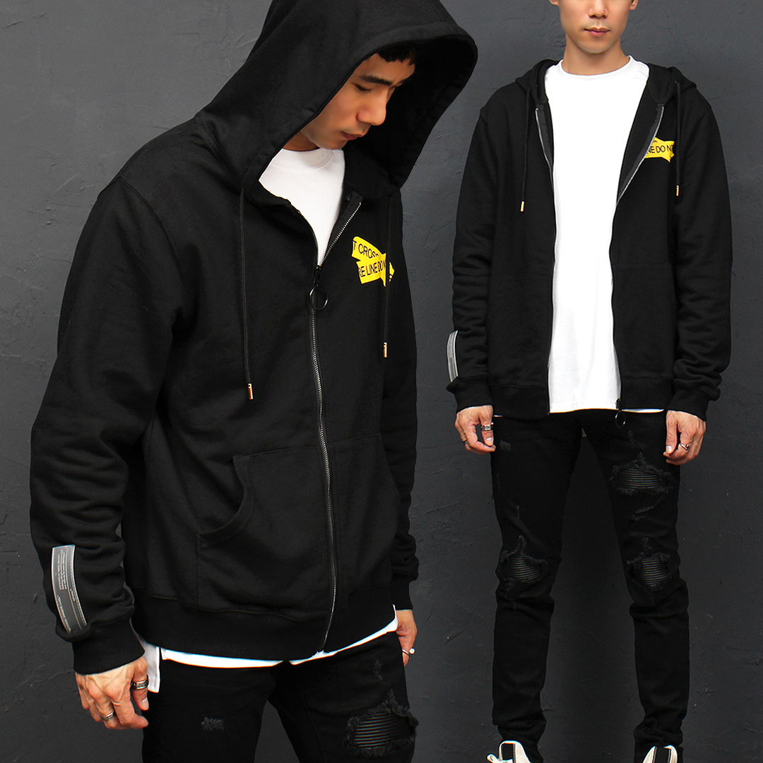 Graphic Printing Pocket Zip Up Hoodie 014