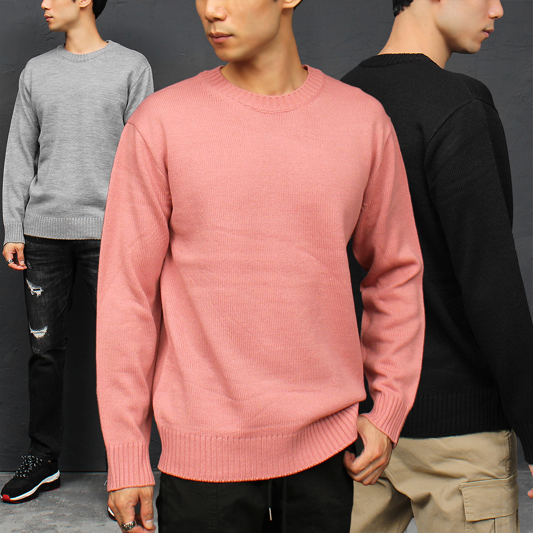 Crew Neck Collar Color Knit Jumper 012