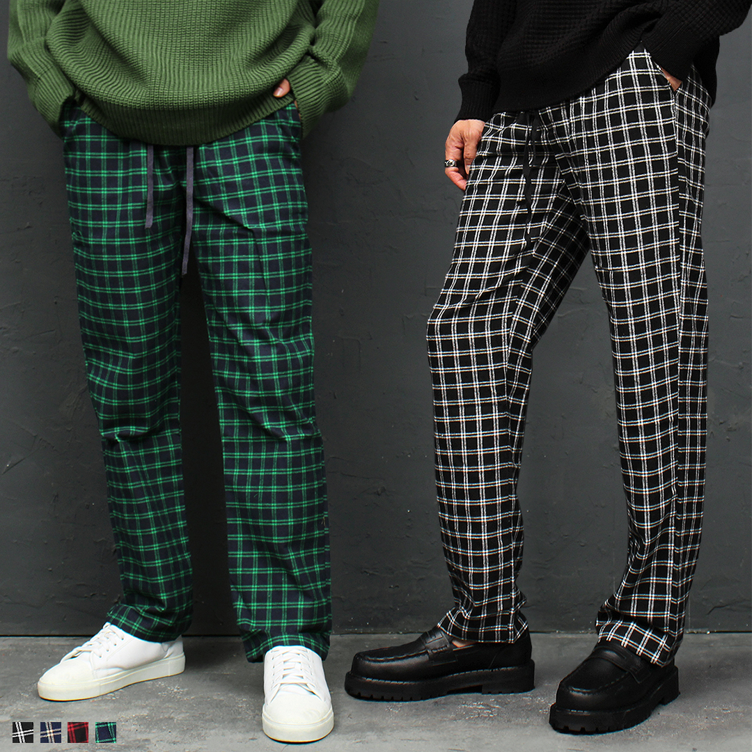 Color Checkered Pattern Elastic Waist Sweatpants 046