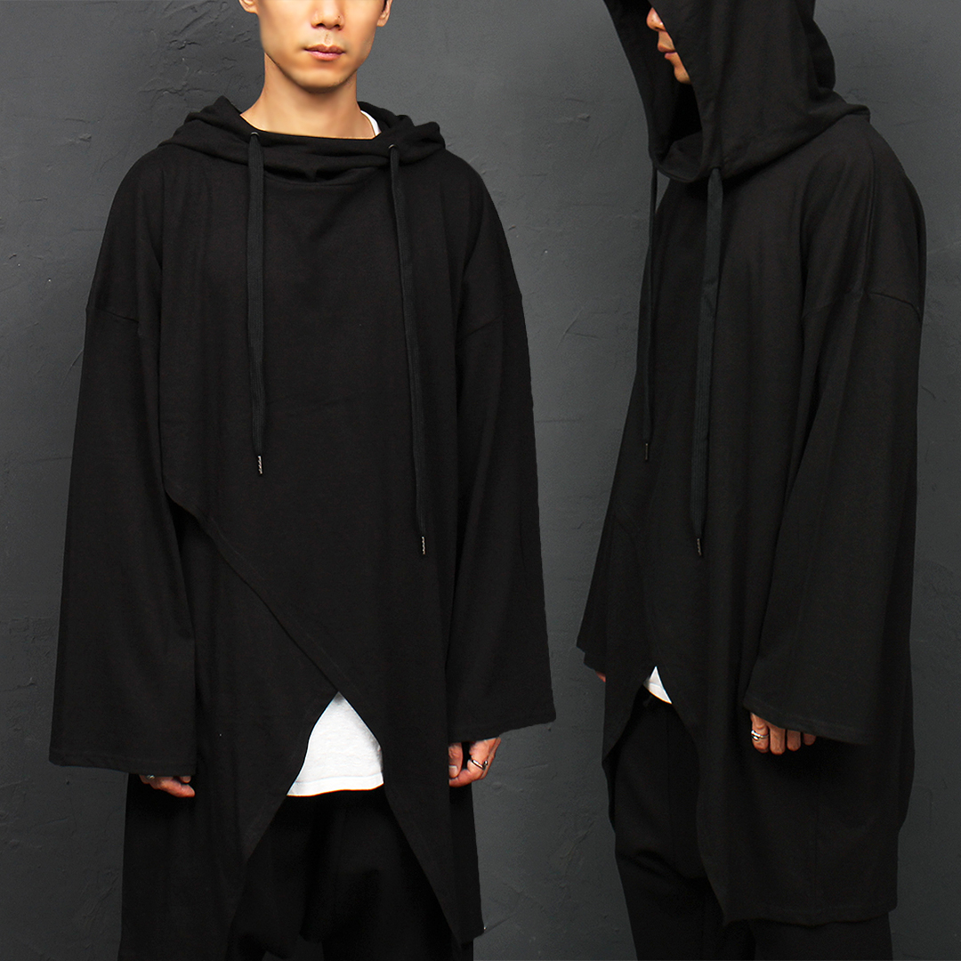 Crossed Layered Boxy Long Hooded Tee 039