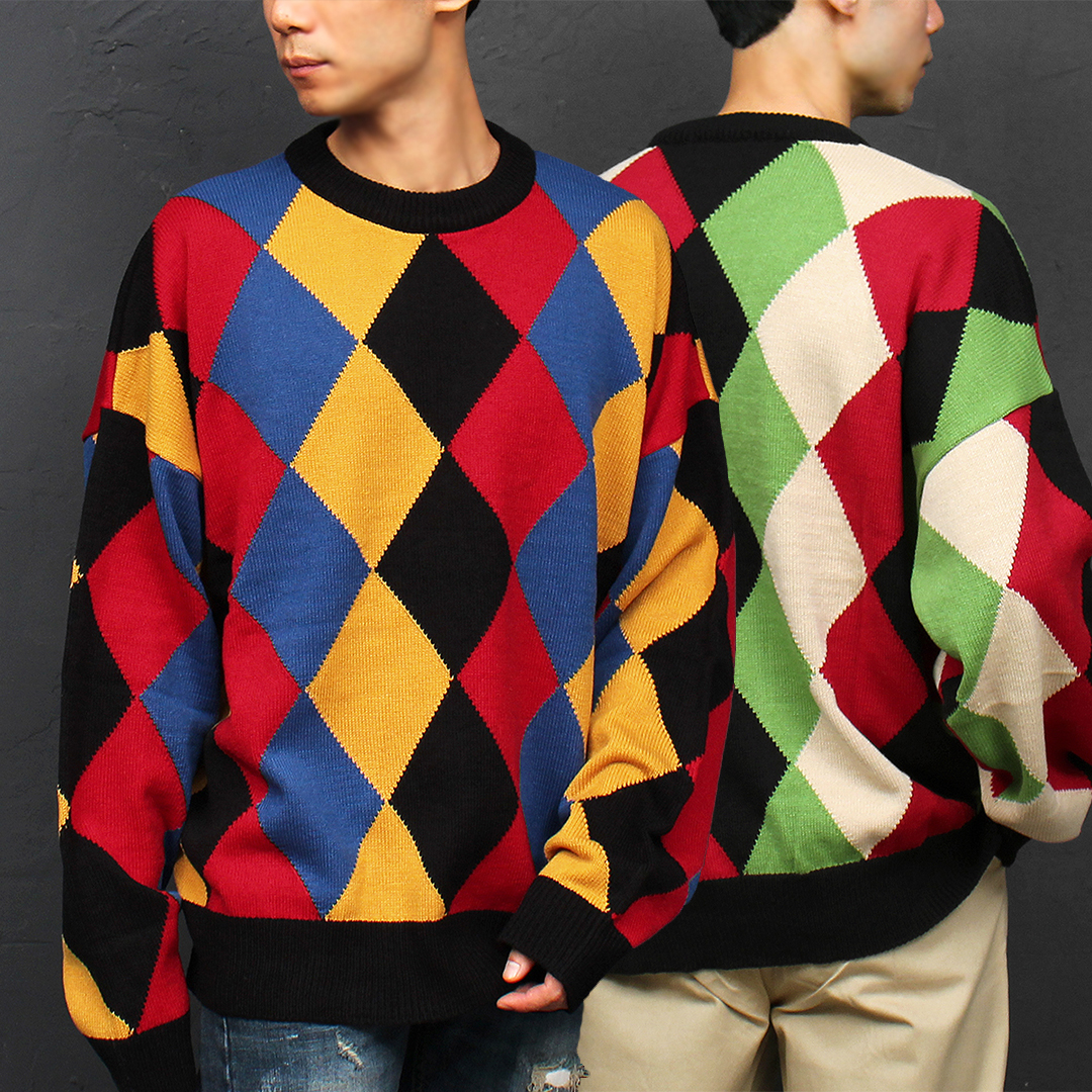 Wide Shoulder Fit Chess Pattern Color Boxy Knit Jumper 013