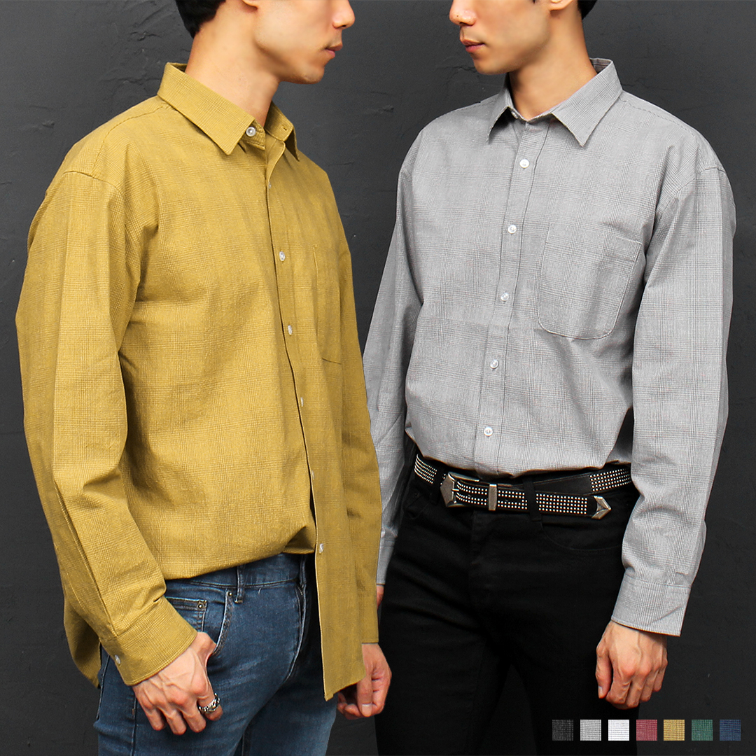 Small Check Pattern Color Shirt 068