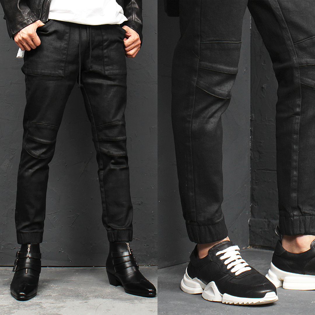 Wax Coated Biker Skinny Black Denim Jogger Pants 118