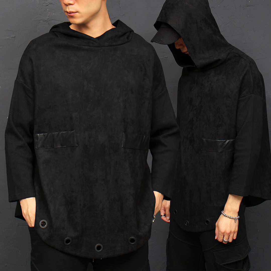 Synthetic Suded Corduroy 4/5 Sleeve Eyelet Hoodie 043