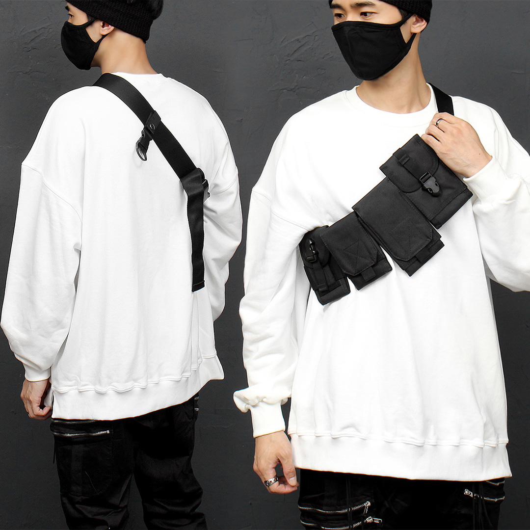 Techwear Look Buckle Belt Removable Pocket Bag 012