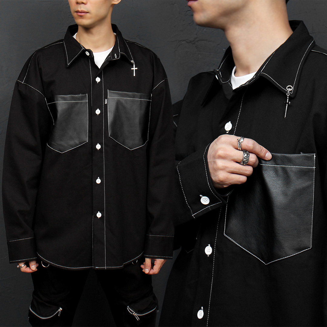 Cross Piercing Collar Faux Leather Pocket Shirt 075