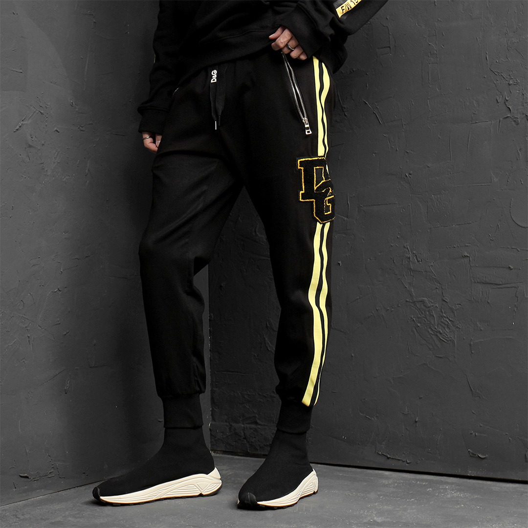 Standard Fit Zipper Pocket Yellow Side Line Joggers 132