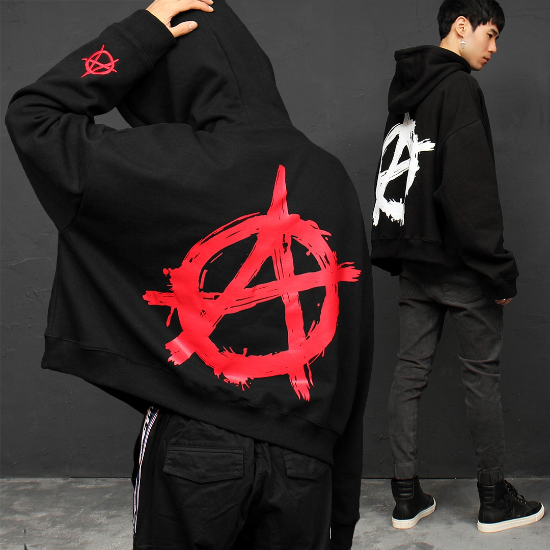 Over-sized Long Graphic Logo Printing Boxy Hoodie 048