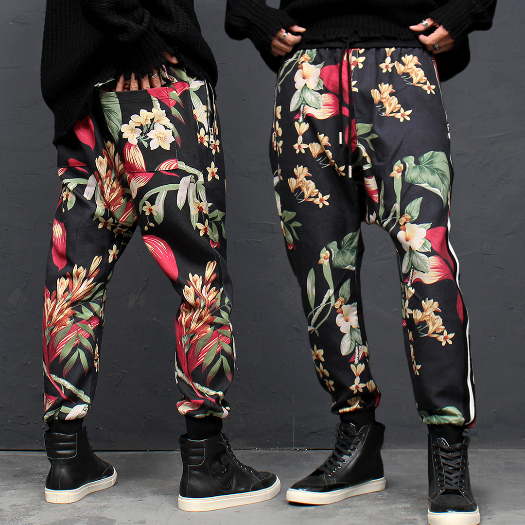 Flower Printing Side Line Joggers 122