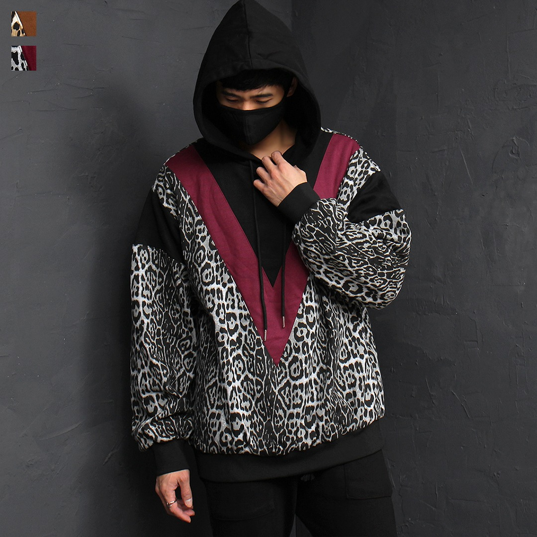 Leopard Pattern Interior Fur Boxy Winter Hoodie 057