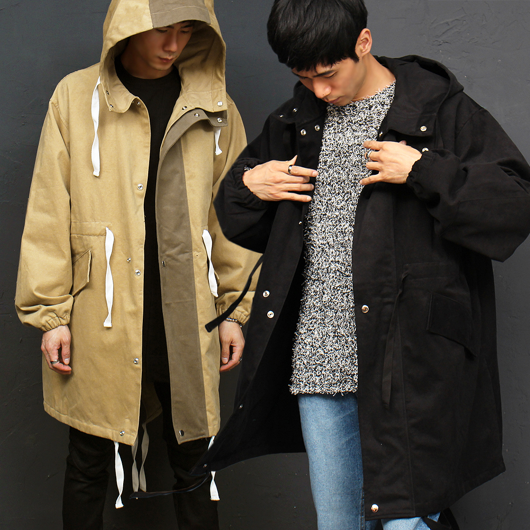 Loose Fit Double Snap Button Long Hood Jacket 041