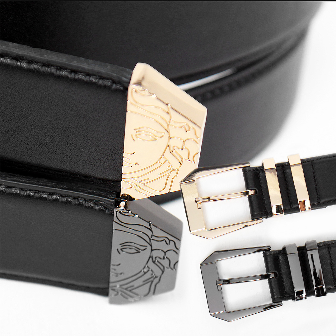 Medusa Engraved Double Buckle Leather Belt 103