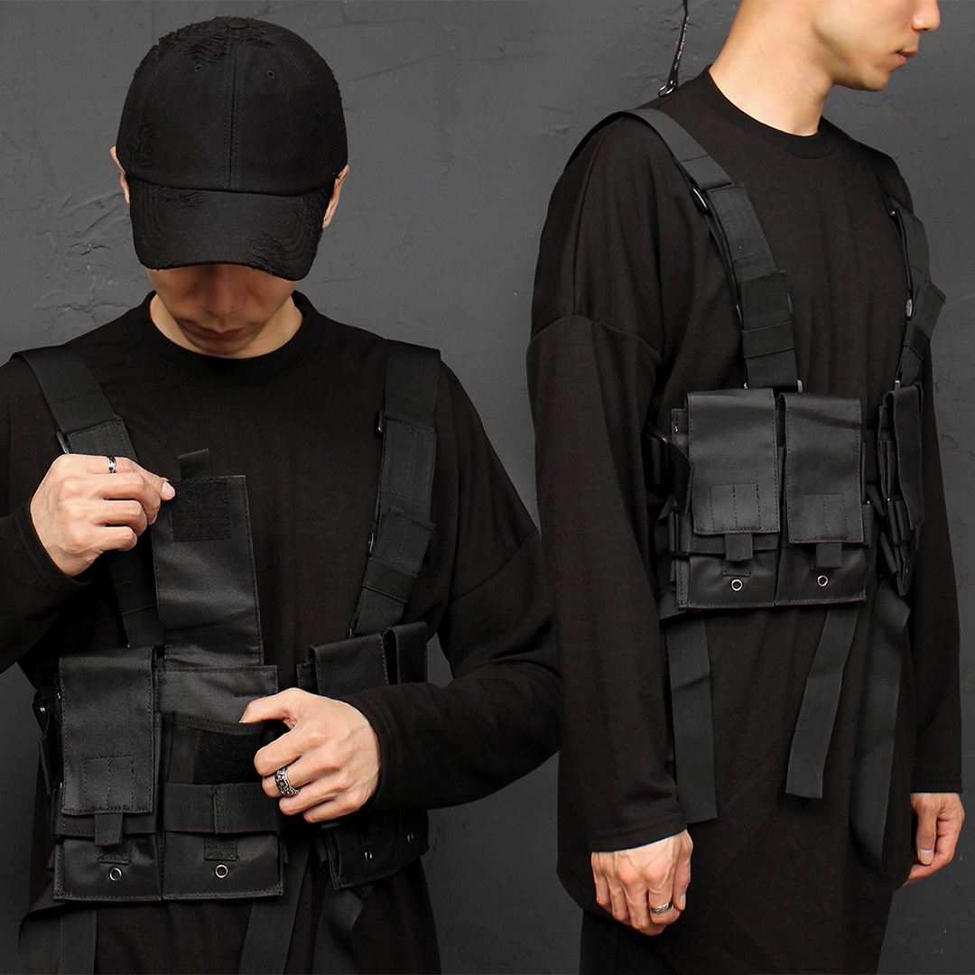 Techwear Look Buckle Belt Removable Pocket Vest Bag 013