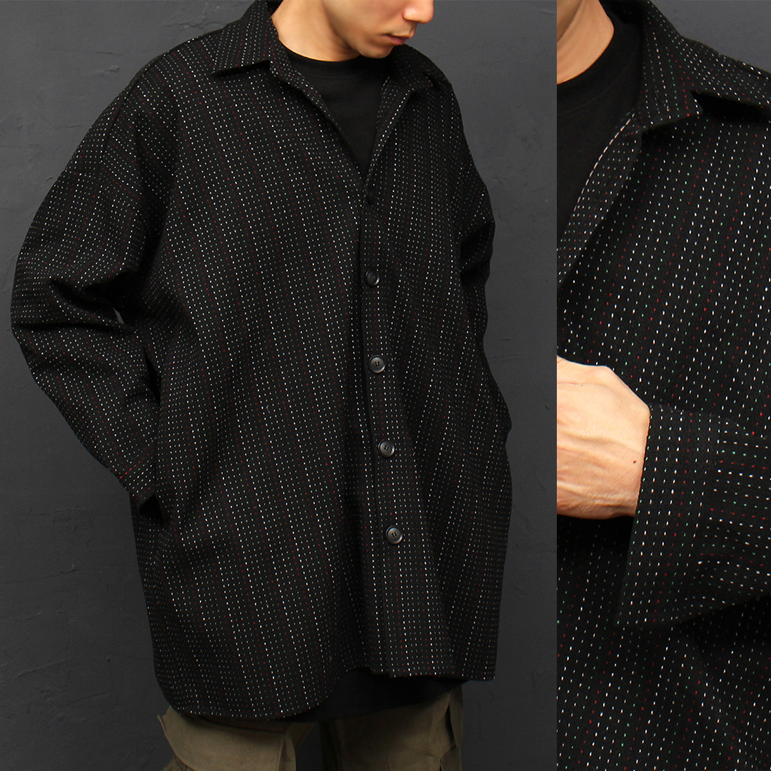 Stitched Line Pattern Big Over-sized Boxy Shirt Jacket 079