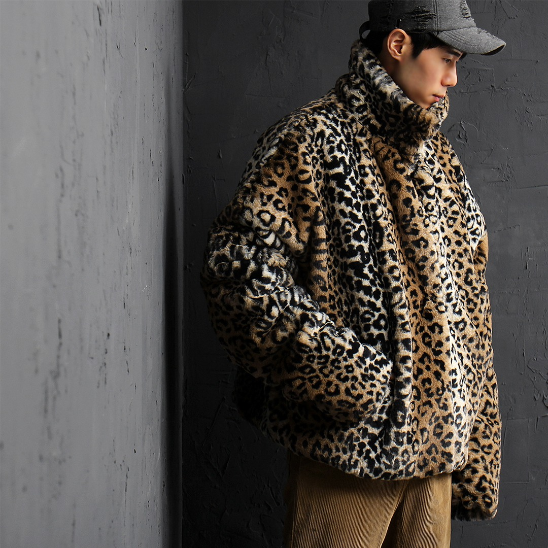 Leopard Pattern Synthetic Fur Fleece Over-sized Jacket 055