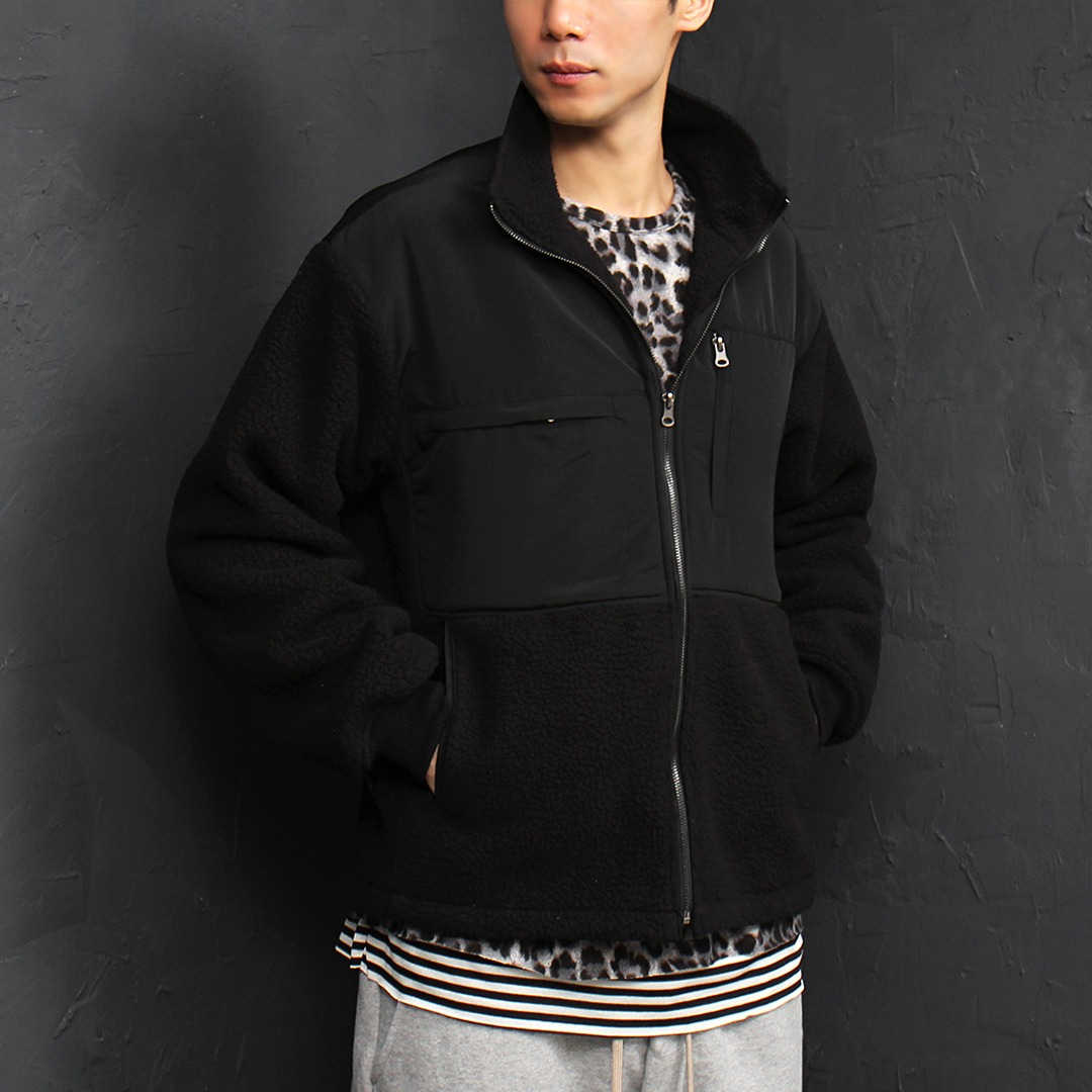 Zipper Pocket Contrast Fleecy Zip Up Jacket 052
