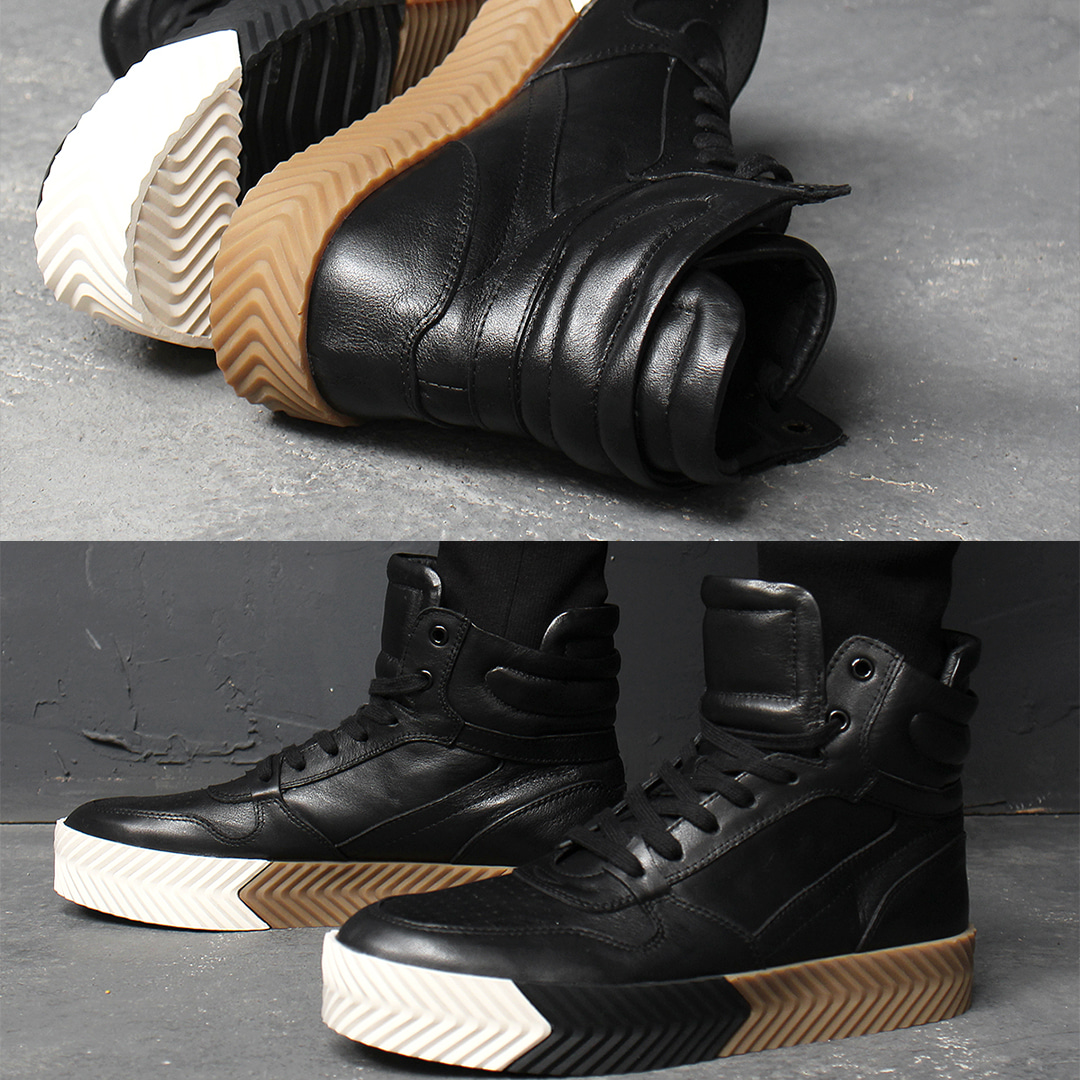 Padded Collar High Top Leather Sneakers 028