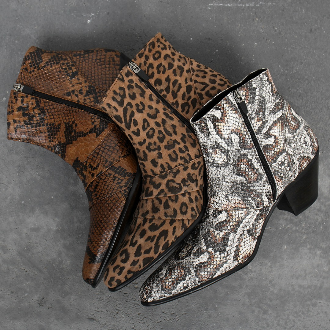 High Heel Animal Skin Pattern Leather Ankle Boots 010