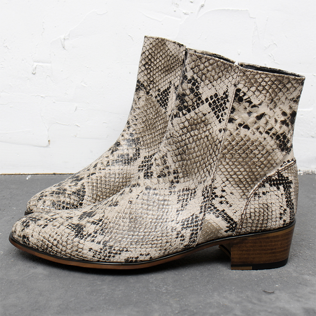 Handmade High Heel Top Zipper Snake Pattern Leather Ankle Boots 012