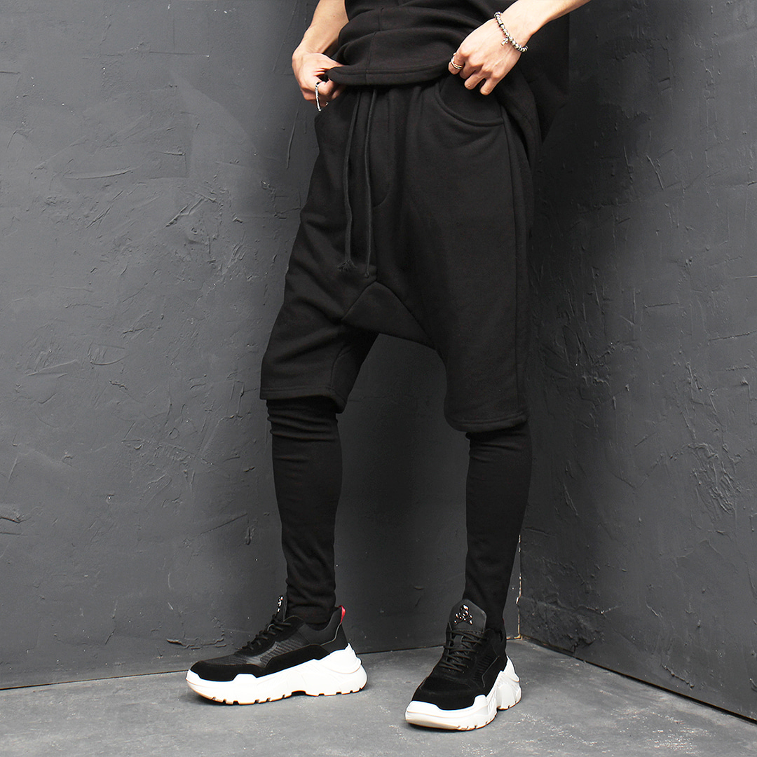Leggings Layered Drop Crotch Half Baggy Sweatpants 155