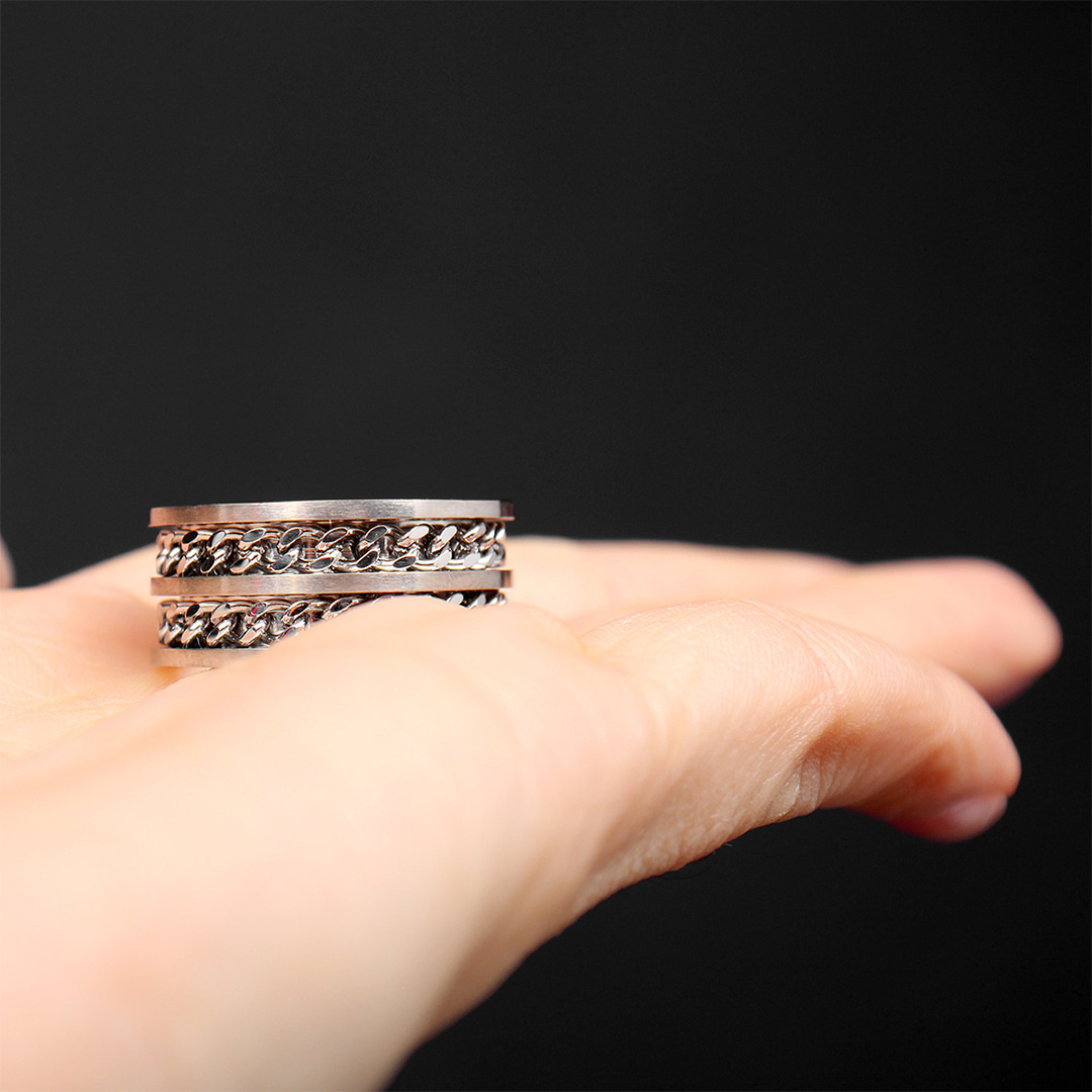 Layered Double Chain Surgical Stainless Steel Ring R67