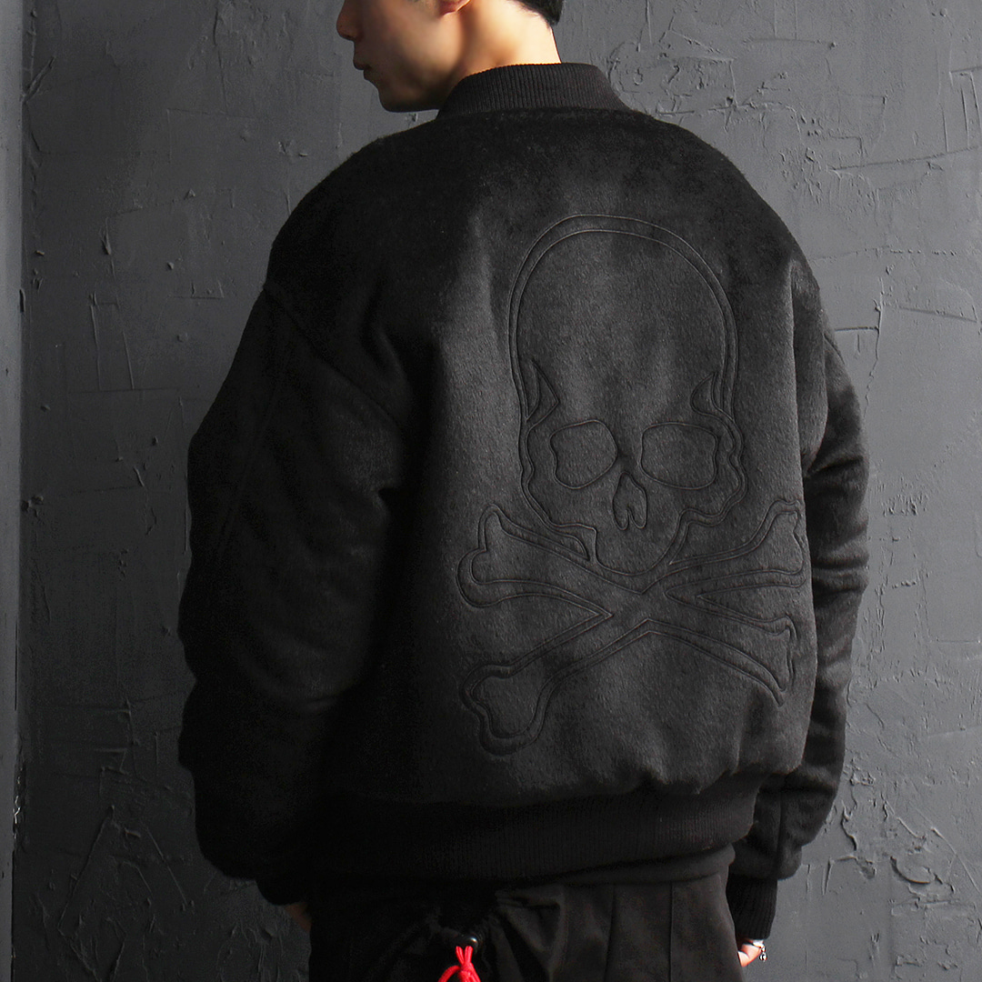 Gothic Fluffy Fur Back Skull Logo Bomber Jacket 068