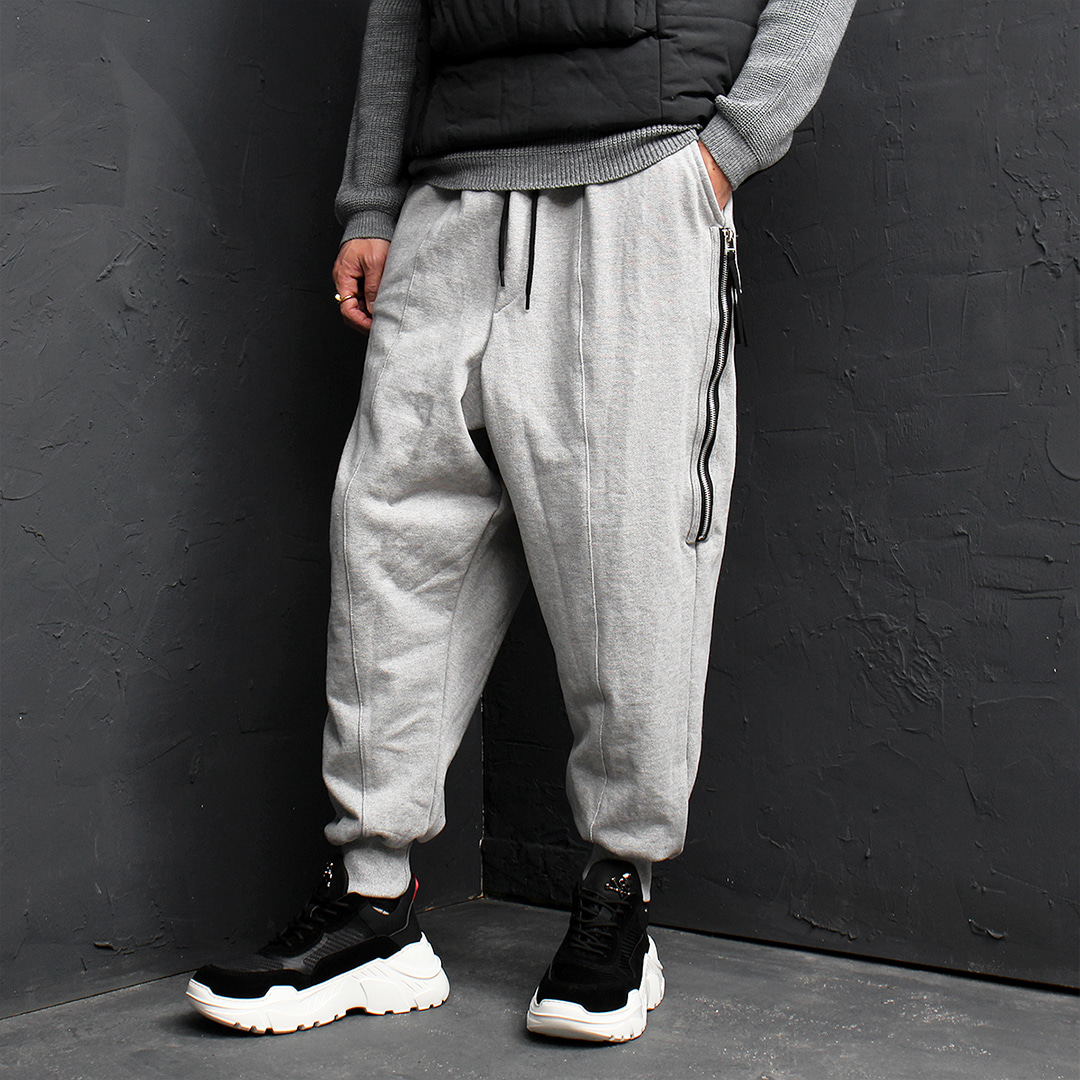 Giant Loose Fit Drop Crotch Side Zipper Jogger Sweatpants 154