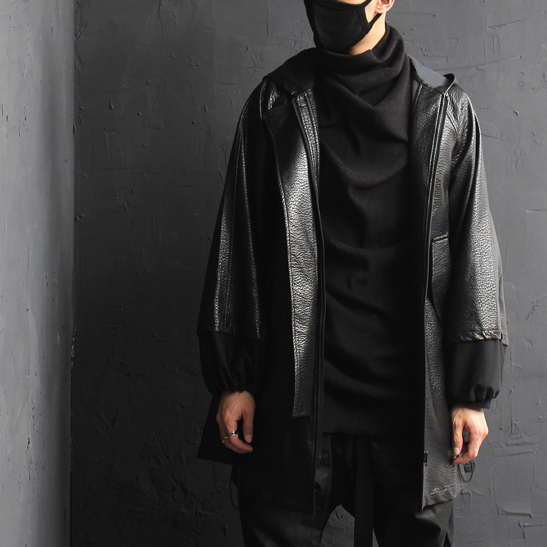 Avant garde Synthetic leather Boxy hood jacket 073