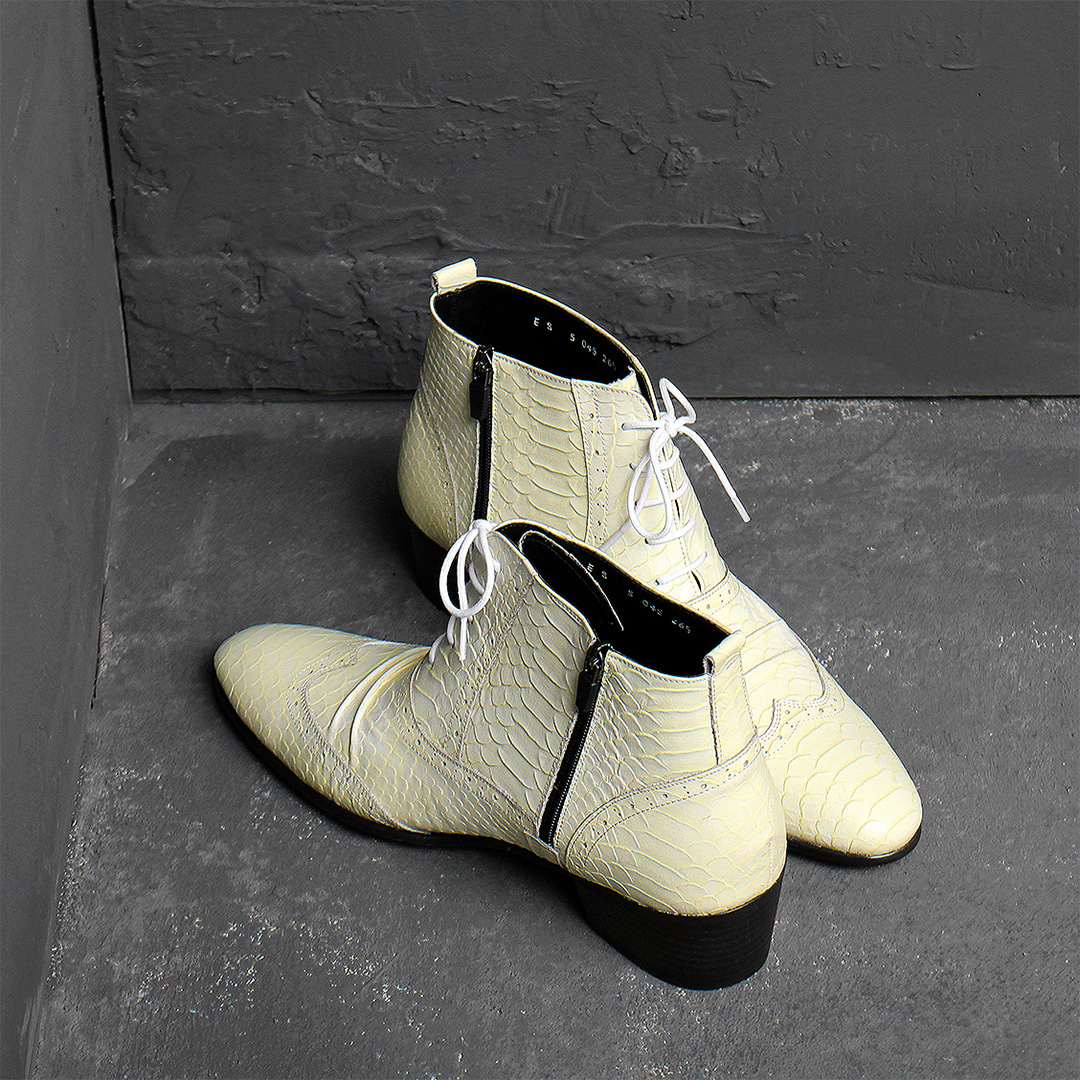 Ivory Anaconda Skin Pattern Shirring Styling High Heel Ankle Boots 015