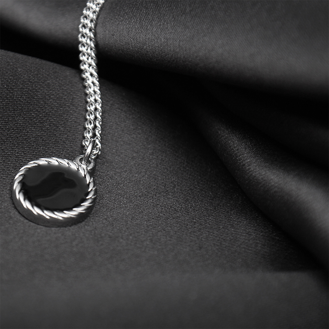 Black Dot Pendant Stainless Steel Chain Strap Necklace N117
