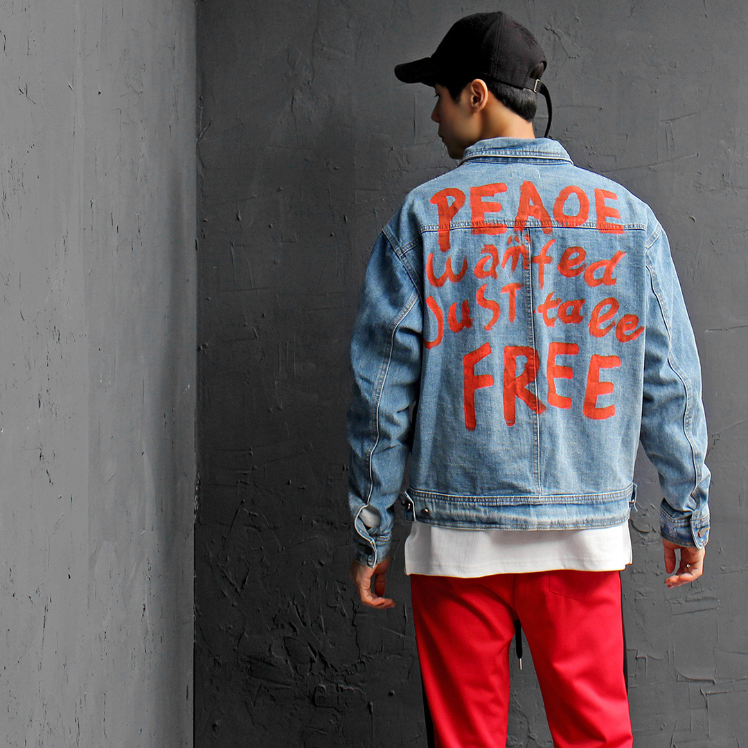 Street Fashion Handwriting Painting Blue Denim Shirring Jacket 079