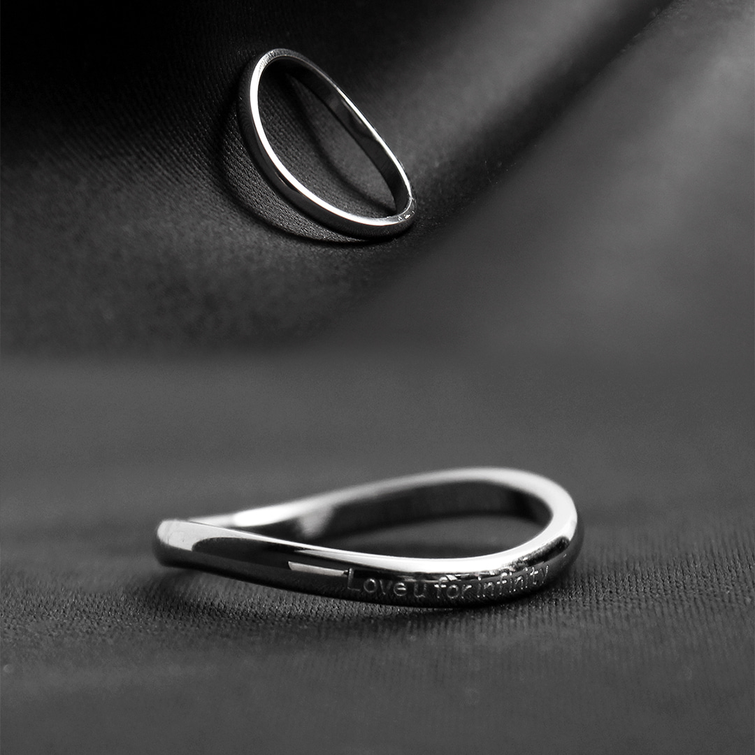 Curved 'Love u for infinity' Engraved Surgical Stainless Steel Ring R80