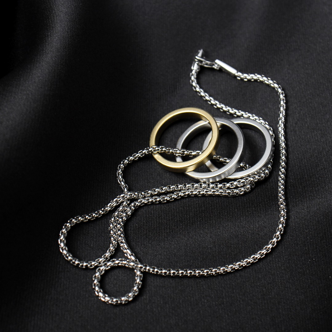 Gold Silver Tone 3 Ring Necklace N115
