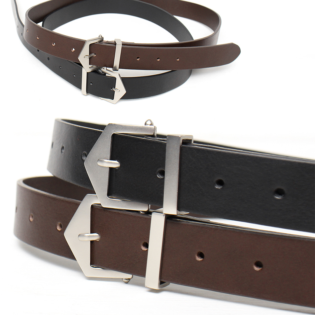 Unisex Cowhide Leather Square Buckle Leather Belt 021