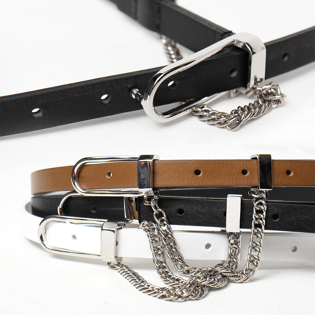 Unisex Clip Buckle Chain Slim Leather Belt 015