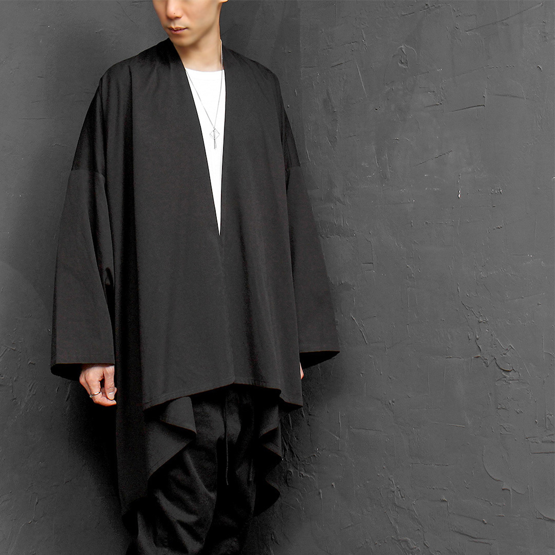 Avant garde Oversized Loose Fit Draped Open Front Boxy Coat 016