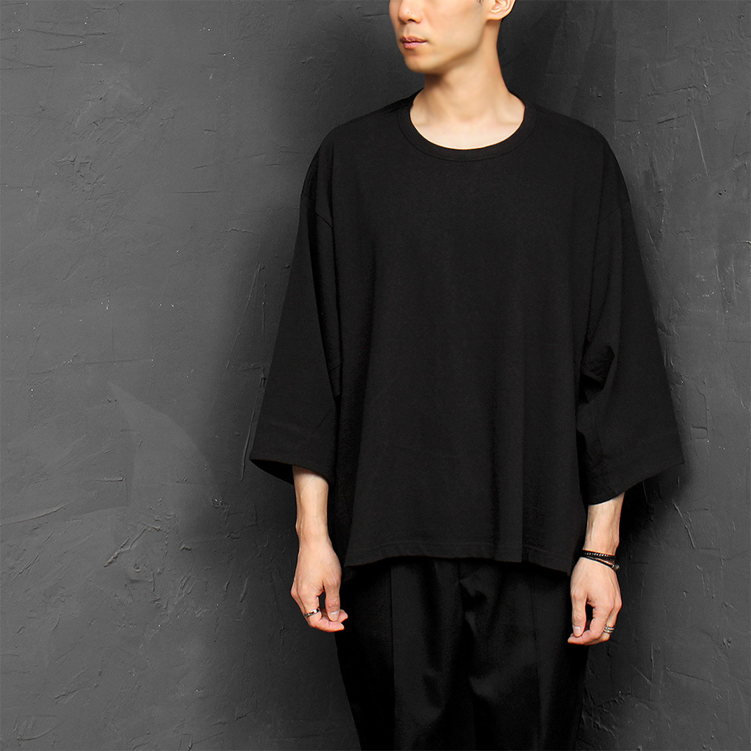 Avantgarde Unbalanced Hem 3/4 Sleeve Short Sleeve Tee 330