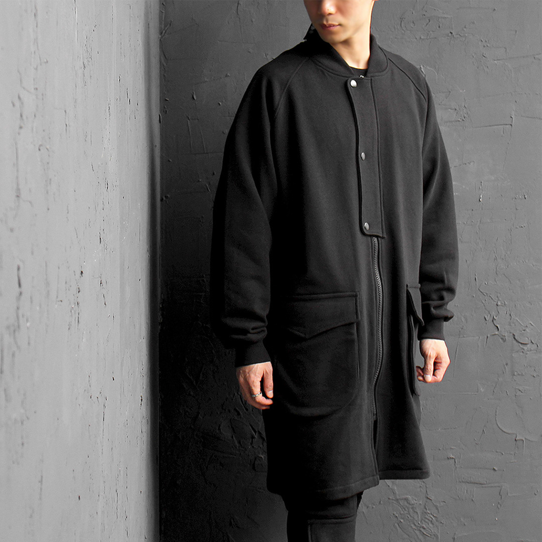 Big Pocket Back Split Snap Button Long Blouson Jacket 071