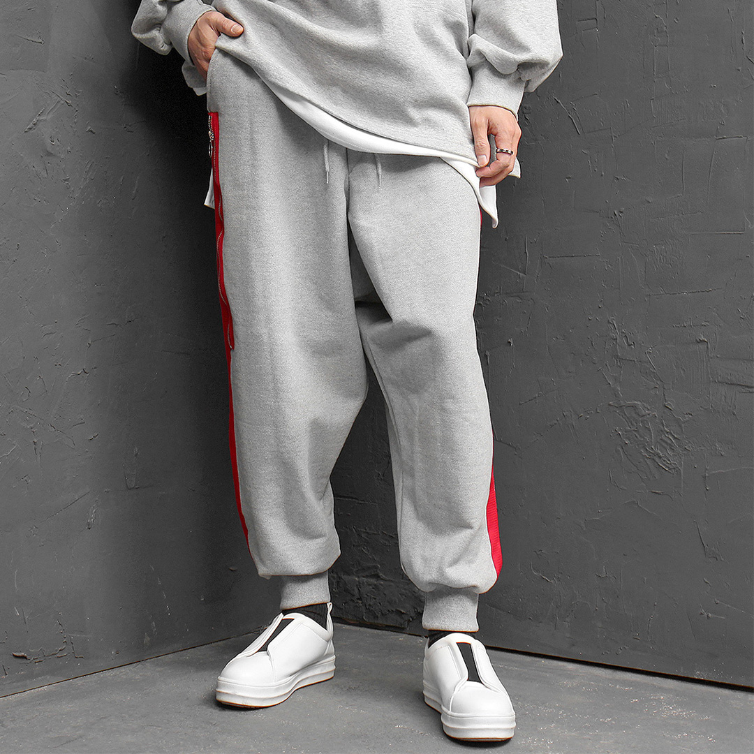 Giant Oversized Fit Drop Crotch Side Zipper Jogger Sweatpants 165