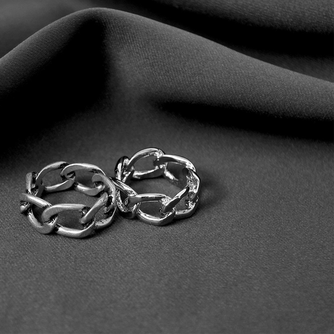 Chain Shaped Silver Tone Steel Ring R86